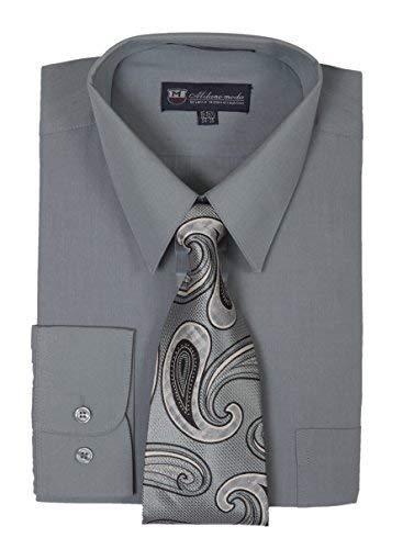 Milano Moda Men's Long Sleeve Dress Shirt With Matching Tie And Handkie SG21A-Charcoal-17-17 - And Tie Shirt Dress