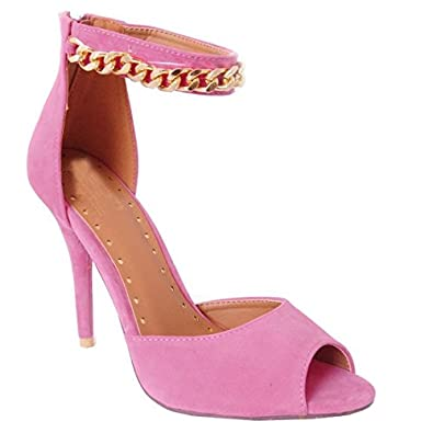 a87bef6f627 Ladies Womens Candy Pink Faux Suede Strappy Sandals Gold Chain Metal Ankle  Cuff Strap Mid Heel High Heels Shoes 3-8