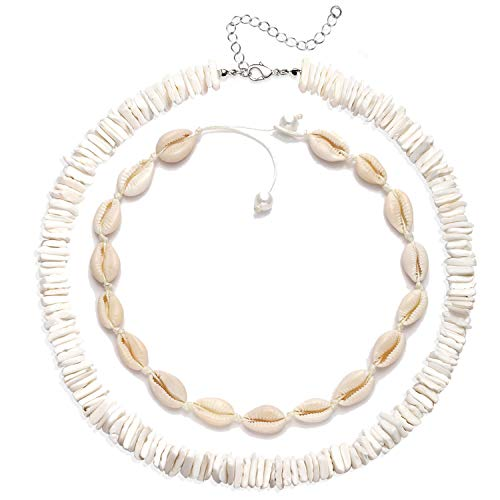 XOCARTIGE Puka Shell Necklace for Women Boho Cowrie Shell Choker Necklace Anklets Set Hawaiian Chips Shell Collar Surfer Choker Pearl Cord Necklace Set (2PC White Choker)