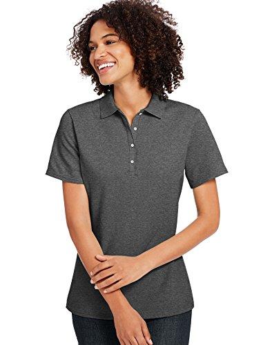Hanes Ladies' X-Temp Piqué Polo with Fresh IQ S CHARCOAL HEATHER (Home L/s Shirt)