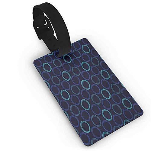 (Label Bag Geometric,Scribble Art Style Circles Ring Shapes on Dark Background,Dark Blue Violet Blue Pale Blue Label Tag Address Holder)