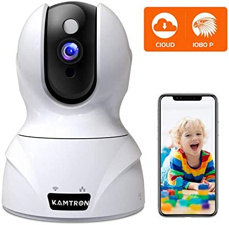 Security Camera 1080P Pet Camera – KAMTRON WiFi Home Security System for Office Baby Monitor, 2.4Ghz PTZ Indoor IP Wireless Dome Camera with Night Vision, Two-Way Audio, Cloud Service Available, White
