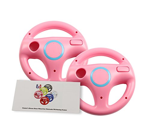 ng Wheel for Mario Kart 8 and Other Nintendo Remote Driving Games, Wii (U) Racing Wheel for Remote Plus Controller - Peach Pink (6 Colors Available) ()