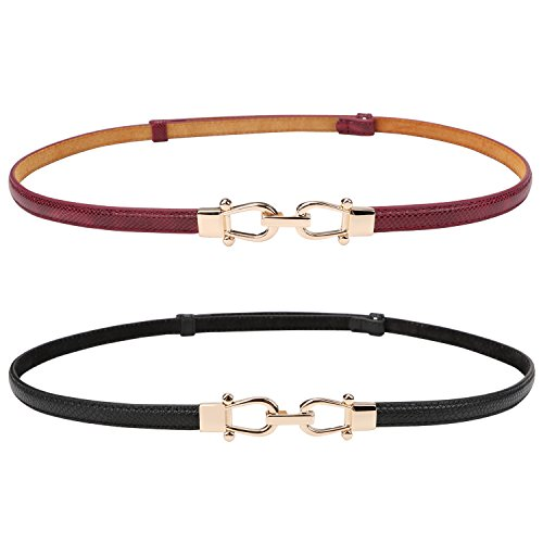 (Genuine Leather Thin Belt for Women Skinny Waist Belts for Dresses Skinny Belt Up to 37