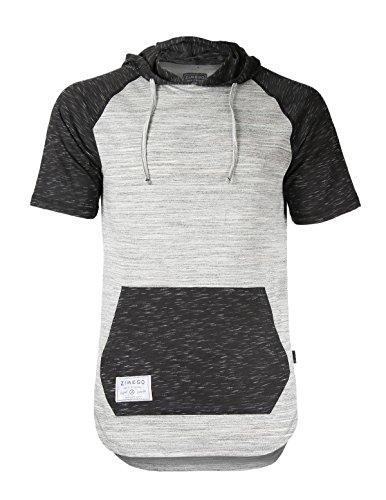 Short Sleeve Hooded Tee (ZIMEGO Men's Short Sleeve Raglan Hoodie Round Bottom Semi Longline T-Shirt (U.S Large, H Grey Fulfilled by Amazon))