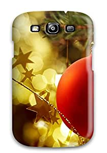 PHzOUsx905rJUUr Case Cover Red Christmas Ball Globe Gold Decoration Stars Lights Xmas Santa Claus Holiday Christmas Galaxy S3 Protective Case