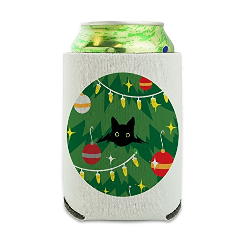 Black Cat Hiding in Christmas Tree Can Cooler - Drink Sleeve Hugger Collapsible Insulator - Beverage Insulated Holder