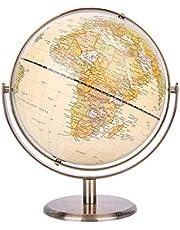Exerz 20 cm wereldbol Antieke wereldbol Metalen boog en voet Gebronsde kleur - Alle richtingen 360 ° roterend - Educatief / Geografisch / Bureaubladdecoratie -