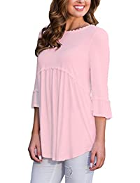 Women's 3 4 Sleeve T Shirts Casual Loose Flowy Tops and Blouses