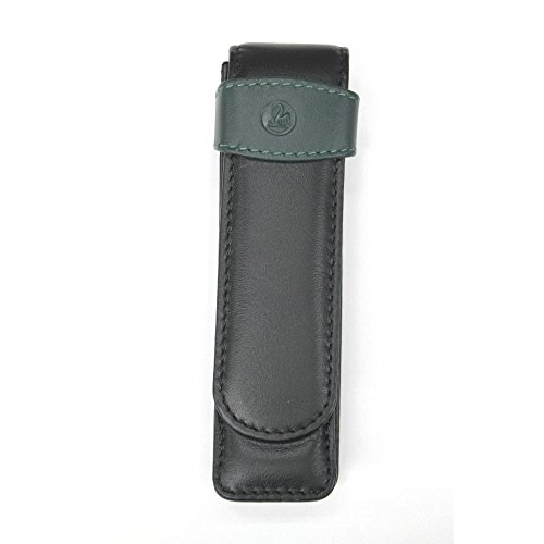 Pelikan Leather Double Pen Case, Black/Green -