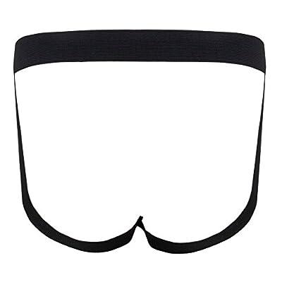FEESHOW Men's Faux Leather Jock Strap Zipper Pouch Underwear Bikini Briefs