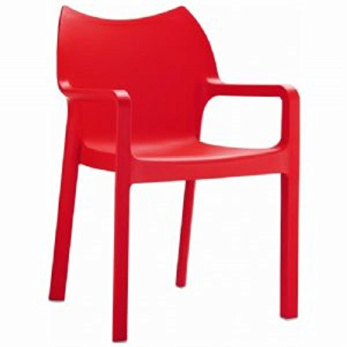 Compamia Diva Stacking Dining Arm Chair [Set of 4] Red ()
