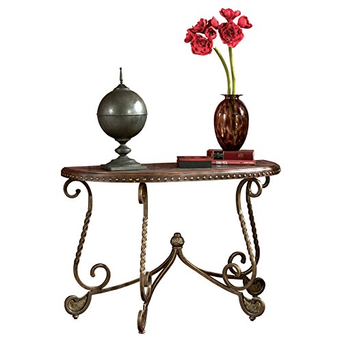 Brown Traditional Desk (Ashley Furniture Signature Design - Rafferty Sofa Table - Traditional Style Entertainment Console Table - Semi Circle - Dark Brown)