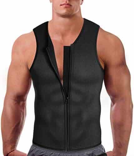 fefc69245 Eleady Men's Neoprene Sauna Sweat Suits,Zipper Closure Tank Top Shirt for  Weight Loss,