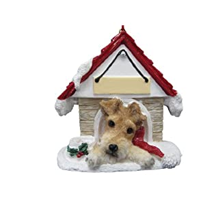 "Wire Fox Terrier Ornament A Great Gift For Wire Fox Terrier Owners Hand Painted and Easily Personalized ""Doghouse Ornament"" With Magnetic Back 46"