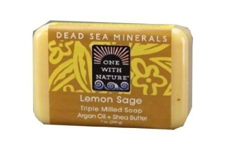 One With Nature - Dead Sea Mineral Bar Soap Mild Exfoliating Lemon Sage