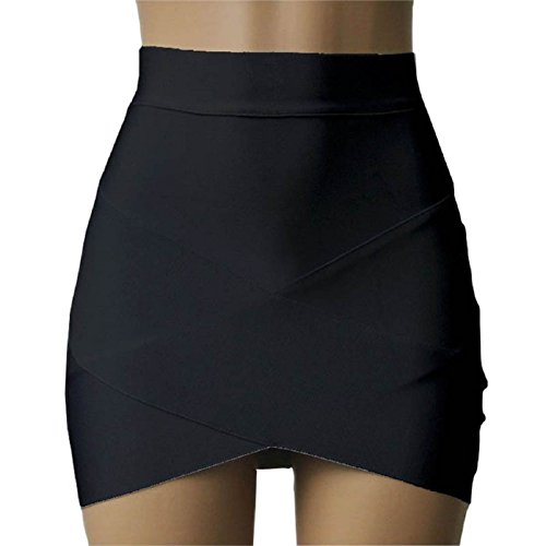 Tonsee High Waist Short Plain Skater Mini Skirt (M, Black)