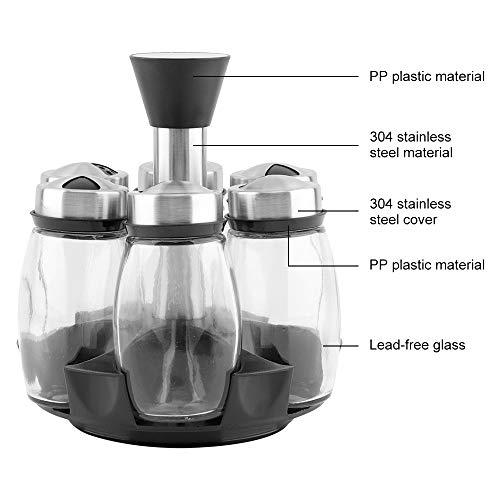 7Pcs/Set Rotating Glass Cruet Condiment Spice Jars Set Salt Pepper Shakers Seasoning Sprays Bottle Kitchen Storage Jar Rack by HSRG Storage (Image #1)