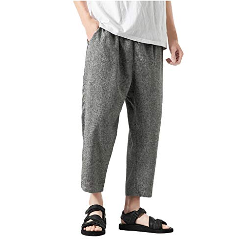 VEFSU Men's Casual Vintage Loose Cotton Linen Sport Pure Color Patchwork Ankle-Length Pant Dark Gray