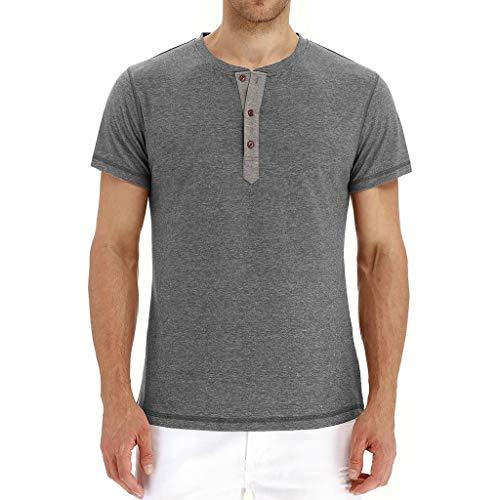 (iLXHD Hot Sale Men's T-Shirt 2019 New Casual Henley Shirt Button Short Sleeve T-shirt Top Blouse)