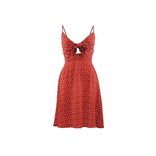 myodress Women's Summer Spaghetti Strap V Neck Tie Knot Front Backless Heart Print Swing Mini Dress Red
