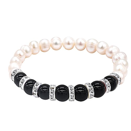 Katia Camille Natural Black Agate Stone Elastic Beaded Bracelet Bangle for Women Elegant Freshwater Pearl Bracelet Charm(Black agate)