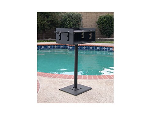 Charcoal Patio Post Mount Barbecue - EasyChef Heavy Duty Outdoor Park Style Charcoal & Wood Grill with Post & Patio Base Plate