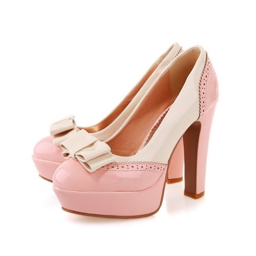 Pink Toe Heels Tie Pumps With High Round Womens Toe Bow AmoonyFashion Platform Shoes and Closed xIqfYSIw