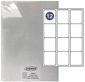 10 Sheets 12 per A4 Blatt Inerra Blanko Etiketten Drucker Adresse Aufkleber Wei/ß A4 Seiten Blanko Etiketten