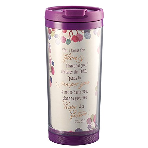 I Know The Plans 9 oz Insulated Break Resistant Polymer Travel Coffee Mug Tumbler with Design Wrap, Pop-Open Lid in Purple - Jeremiah 29:11