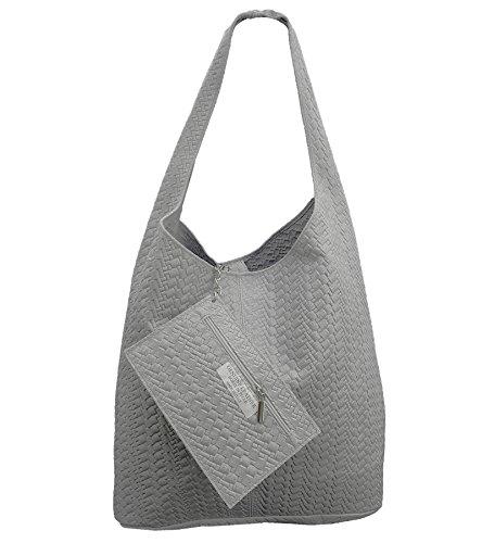 FreyFashion Made para Ante Grau Geflochten al Bolso Italy hombro mujer de in q6qfwH4