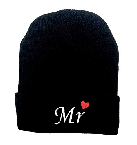 LOKIDVE Mr&Mrs Embroidered Matching Lovers Beanie Hat for Couples-Mr]()