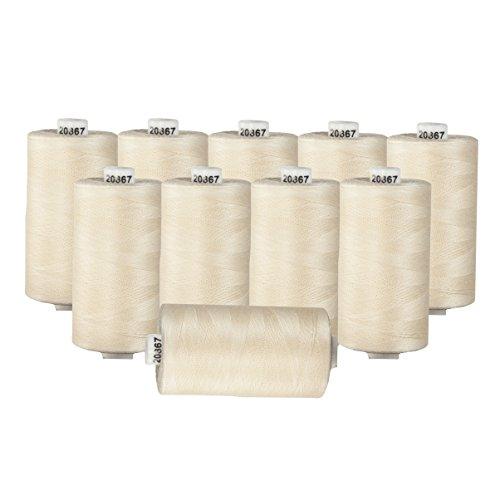 Connecting Threads 100% Cotton Thread Sets - 1200 Yard Spools (Cream - set of 10) ()