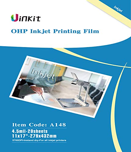 OHP Film Overhead Projector Film 11x17 - for Inkjet Printer only Transparency Film 20 Sheets Uinkit ()