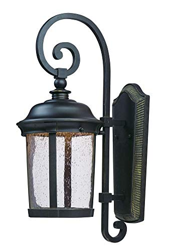 Maxim 55024CDBZ Dover LED Outdoor Wall Lantern, Bronze Finish, Seedy Glass, LED Bulb , 40W Max., Wet Safety Rating, Standard Dimmable, Glass Shade Material, 2016 Rated Lumens