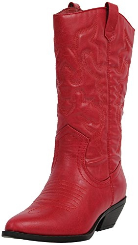 Soda Women Cowgirl Cowboy Western Stitched Boots Pointy Toe Knee High RENO-S Red 7