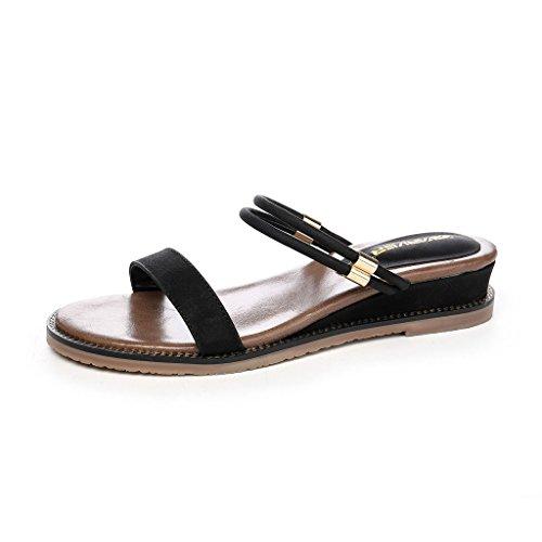 Schuhe Römische Koreanische Frauen Studenten Slope Hausschuhe Unterseite Sommer Flache Schwarz Dual Sandalen Use SxRYqwCn0