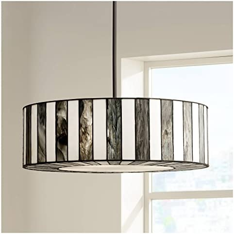 Black Tiffany Drum Pendant Chandelier 20″ Wide Modern Black White Striped Art Glass 4-Light Fixture