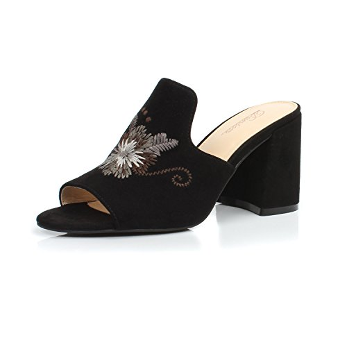 Black Embroidered High Heel - DUNION Women's Bonnie Floral Embroidered Chunky High Heel Dress Slip on Mules Party Daily Shoe,Black Fabric,8 B(M) US