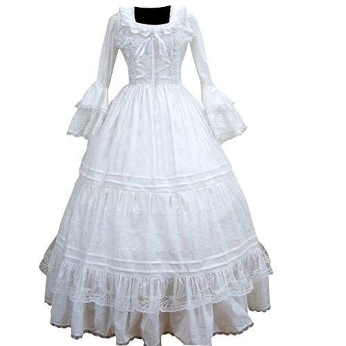 Colonial Ball Gown Costumes (Partiss Womens White Victorian Gothic Ball Gown Cosplay Dress,XL,White)