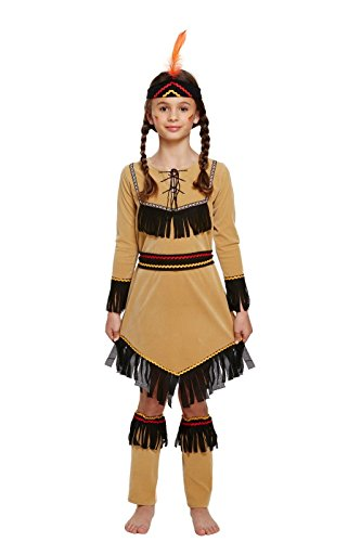 GUBA® New Native American Indian Girls Fancy Wild West Western Kids Costume Outfits Age 4-12 yrs (Girls Native American Indian Costume, Medium (7-9 (Wild West Costumes Indians)