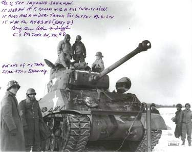 Brigadier General Albin F. Irzyk signed Vintage WWII Vintage B&W 8x10 Photo M4A3E8 (Easy 8) Sherman Tank- Hologram #DD39359 - JSA Certified