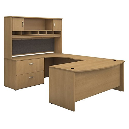 Bush Business Furniture Series C 72W Left Handed Bow Front U Shaped Desk with Hutch and Storage in Light Oak