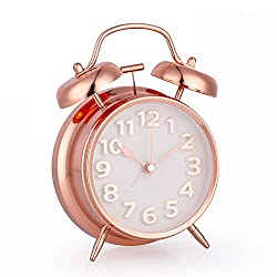 Alarm Clock for Bedroom, 4 Inch Silent Non-Ticking Double Twin Bell Nightlight Functions Battery Operated Classic Tabletop Desk Alarm Clock with Stereoscopic Dial for Women, Girls, Boys (Rose Golden)
