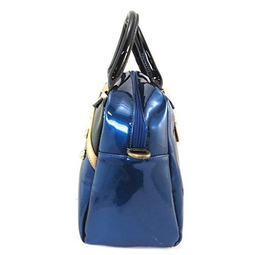 Bolso creativo 'Lili Petrol'barniz negro azul - 31x24x14 cm.