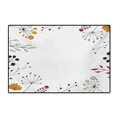 Amber Living Room Upholstery - Modern Floor Mat for Kids Floral Branches with Geometric Flowers Nature Artwork Print Floor Mat Pattern 32