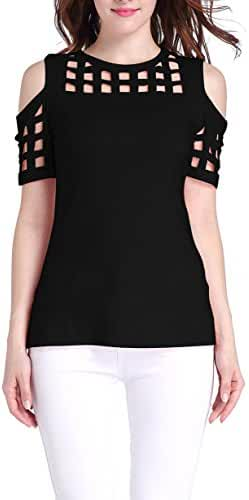 Sarin Mathews Womens Cold Shoulder Hollow Out Short Sleeve Casual T-shirt Tops