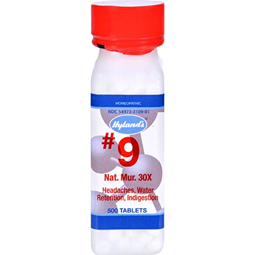 Hyland's No.9 Nat. Mur. 30x - Headaches - Water Retention - Indigestion - 500 (Nat Mur Homeopathic)