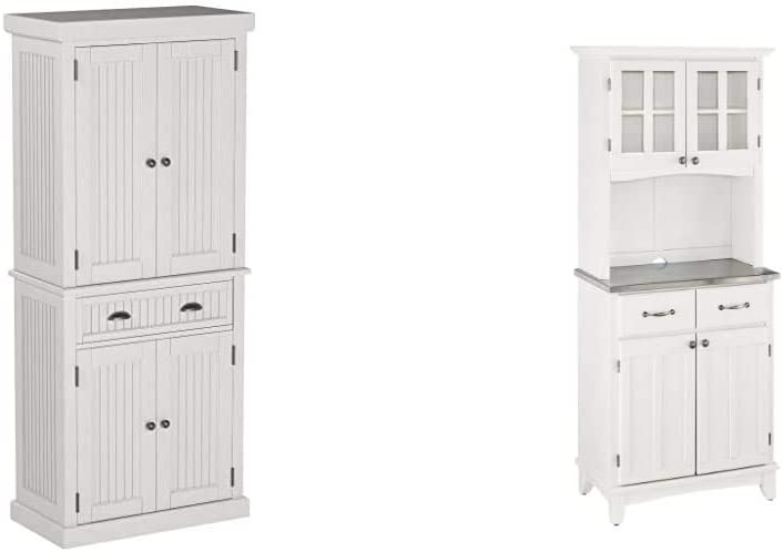 Home Styles Nantucket Pantry - White Distressed Finish & ffets White with Stainless Steel Top with Hutch by Home Styles