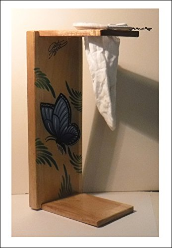 Chorreador,Costa Rican Handmade Portable Foldable Wooden Stand Coffee Maker,Included:1 Large Reusable Cloth Filter(Bolsa de Chorrear Cafe),Model:Blue Morpho Butterfly, Color:Light, Wood: Gmelina by Love Gourmet Coffee (Image #6)